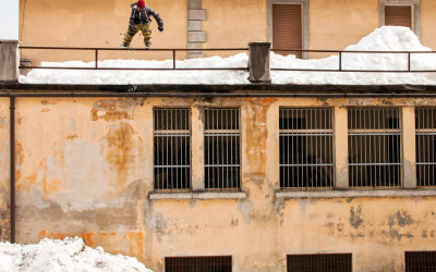 Ahmet Dadali slides a rail in Tarvisio, Italy, just across the border from Slovenia.