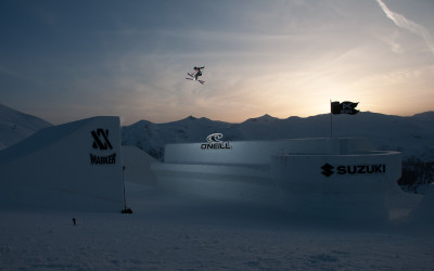 Jamie Crane-Mauzy jumps over the castle at the Nine Queens event in Livigno, Italy.