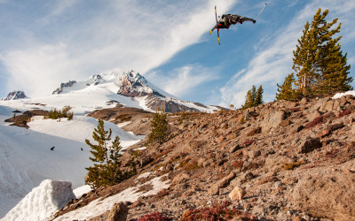 Lucas Wachs bags a cork 540 blunt over some rocks during a shoot for Poor Boyz Productions at Mount Hood, Oregon.