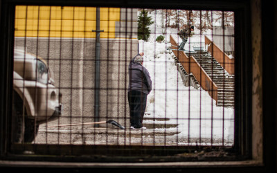 Mike King slides a rail in Tarvisio, Italy.