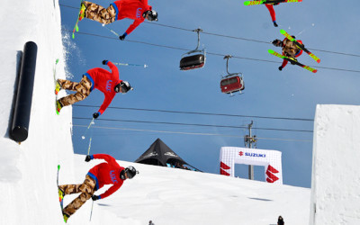 Roy Kittler spins into a huge redirect gap at the Nine Knights event in Livigno, Italy.