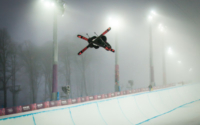 Jossi Wells warming up in the Rosa Khutor superpipe at the 2014 Winter Olympics in Sochi, Russia.