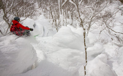 Andy Mahre drops into a pillow line in Hakuba, Japan.