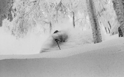 Mitchell Brower gets a face shot skiing Japanese powder.