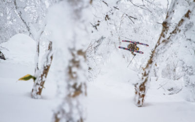 Nicky Keefer corks a 360 through the trees in Rusutsu, Japan.