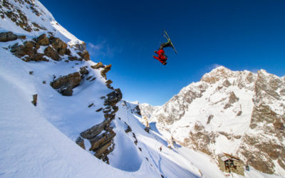 Tom Ritsch backflip during the Click on The Mountain competition in Courmayeur, Italy