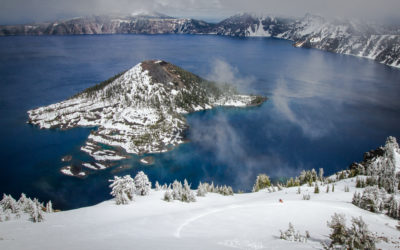 Derek Roy skis the crater rim at Crater Lake National Park, Oregon.