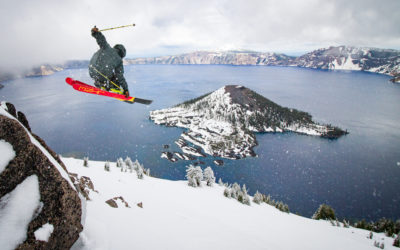 Simone Canal skis the crater rim at Crater Lake National Park, Oregon.
