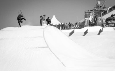 A competitor skis the slopestyle course at the Laax European Open